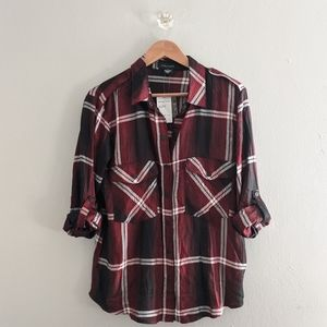NWT Sanctuary Boyfriend Shirt Flannel Red Black